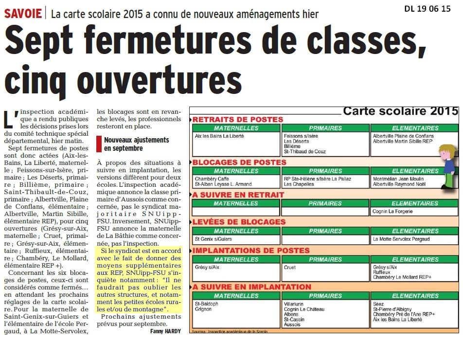 Carte Scolaire Vue Par Le Dl Snuipp Fsu De La Savoie